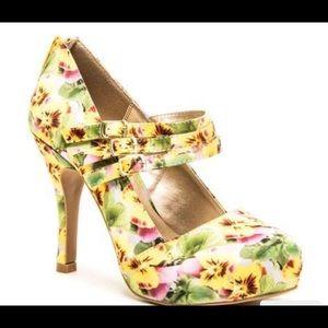 QUPID yellow floral platform heels